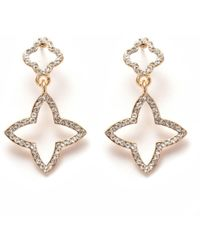 Peermont - Gold And White Swarovski Elements Star Drop Earrings - Lyst