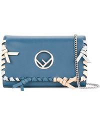 Fendi - Women's 8bs004a389f12n1 Blue Leather Shoulder Bag - Lyst