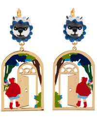 Les Nereides - Into The Woods Little Red Riding At Grandmother's House Earrings - Lyst