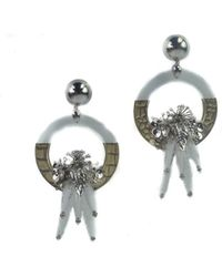 Roberto Cavalli - Silver Embellished Plexiglass Metal Pendant Earrings - Lyst