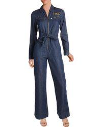 Juicy Couture - Black Label Womens Wide Leg Long Sleeves Jumpsuit - Lyst