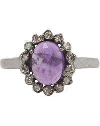 Adornia - Purple Amethyst And Champagne Diamond Genevieve Ring - Lyst