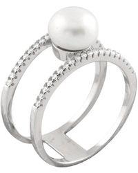 Splendid - Double Shank Sterling Silver Pearl Ring - Lyst