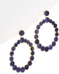 Noir Jewelry - 14k Plated Lapis Hoop Earrings - Lyst