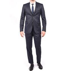 Balmain - Wool Two Button Suit Black Dark Navy - Lyst