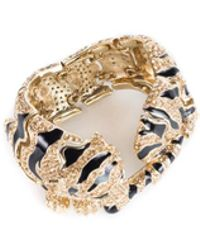 Roberto Cavalli | Goldplated Swarovski Crystal Embld Tiger Bracelet | Lyst