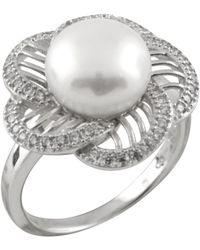 Splendid - Star Shaped Cz Freshwater Pearl Ring Set In Sterling Silver - Lyst