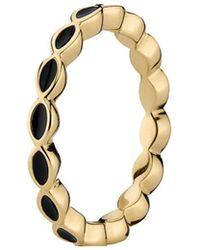 PANDORA - 14k Gold Black Enamel Stack Ring - Lyst