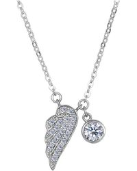 JewelryAffairs | Sterling Silver Cz Angel Wing Charm Pendant Necklace, 18 | Lyst