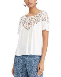 Denim & Supply Ralph Lauren - Lace Jersey Short Sleeve Top - Lyst