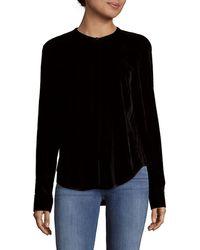 Saks Fifth Avenue Black - Long-sleeve Velvet Top - Lyst