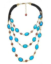Gottex - 18k Plated & Leather Crystal Braided Necklace - Lyst