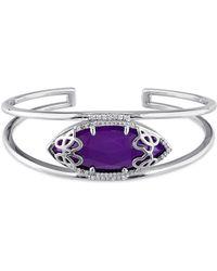 Julianna B - 1/3 Ct Diamond Tw And Purple Chalcedony Bangle - Lyst