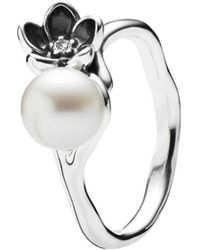 PANDORA - Mystic Floral Silver Pearl & Cz Ring - Lyst