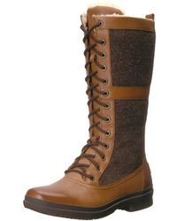 UGG - Womens Elvia Leather Round Toe Mid-calf Cold Weather Boots - Lyst