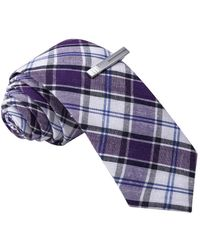 Skinny Tie Madness - Men's Purple Plaid Skinny Tie With Clip - Lyst