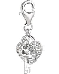 Jewelry Affairs - Sterling Silver Clip On Key And Heart Locket Charm - Lyst