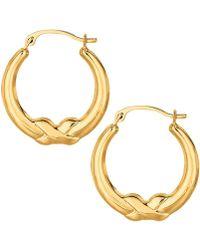 Jewelry Affairs - 10k Yellow Gold X Design Round Shape Hoop Earrings, Diameter 20mm - Lyst