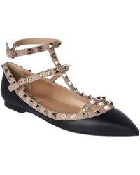 Valentino | Rockstud Leather Ballerina Flat | Lyst