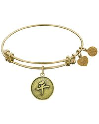Angelica - Stipple Finish Brass Chinese Peace Bangle Bracelet, 7.25 - Lyst