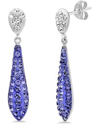 Amanda Rose Collection - Sterling Silver Purple Crystal Drop Earrings Made With Swarovski Elements - Lyst