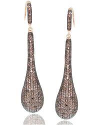 Suzy Levian - Rose Sterling Silver Brown Cubic Zirconia Teardrop Earrings - Lyst