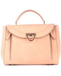Ferragamo Bisque Beige Leather Verve Tote Bag in Natural - Lyst 9e9bc63627849