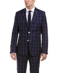 Ike Behar - Dorian Slim Fit Wool Suit With Flat Pant - Lyst