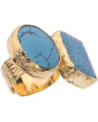 Jewelista - 18k Gold Plate & Turquoise Two-stone Ring - Lyst