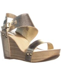 Lucky Brand - Marleighh Ankle Strap Wedge Sandals, Platinum - Lyst