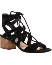 Vince Camuto - Fauna Suede Lace-up Stacked Block Heel Sandals - Lyst