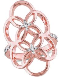 Catherine Malandrino | 18k Rose Gold Plated Circle Linked Floral Gladiator Ring | Lyst
