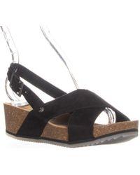 BEARPAW - Renee Slingback Platform Sandals, Black - Lyst