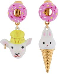 Les Nereides - Kind And Happy Zoé The Lamb And Her Rabbit Ice Cream Asymetrical Clip Earrings - Lyst