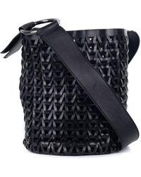 Roberto Cavalli - Solid Black Leather Braided Woven Shoulder Bucket Bag - Lyst