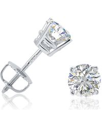 Amanda Rose Collection - Igi Certified 1ct Tw Round Diamond Stud Earrings Set In 14k White Gold With Screw Backs - Lyst