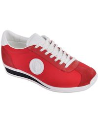 Versus - Red Suede Leather Panel Trainer Sneakers - Lyst