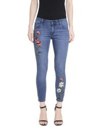 Romeo and Juliet Couture - Flower Embroidery Denim Trousers - Lyst