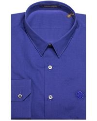 Roberto Cavalli - Men's Point Collar Cotton Dress Shirt Blue - Lyst