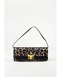 Luciano Padovan - 1 Black Beige Satin Animal Print Clutch Bag - Lyst