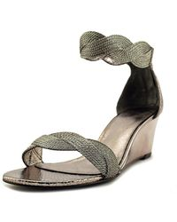 Adrianna Papell - Adelaide Women Open Toe Synthetic Silver Wedge Sandal - Lyst