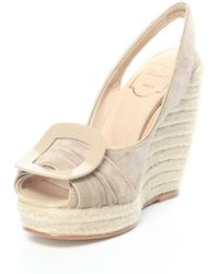 Roger Vivier - Suede Polishing Leather Peep Shoes Shy White 115mm - Lyst