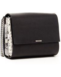 Susu - Black Leather Crossbody Bag With Leopard Print Gussets - Lyst