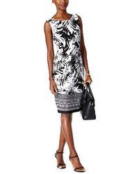 Connected Apparel | Palm Print Sarong Sheath Dress | Lyst