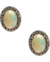 Adornia - Opal And Champagne Diamond Echo Ii Earrings - Lyst