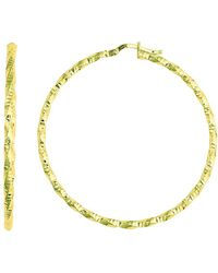 Jewelry Affairs - 14k Yellow Gold Shiny Diamond Cut Hoop Earrings, Diameter 45mm - Lyst