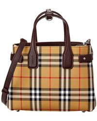 Burberry - Small Banner Vintage Check Canvas & Leather Tote - Lyst