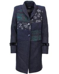 Desigual - Women's 18wwewbkblue Blue Polyester Coat - Lyst