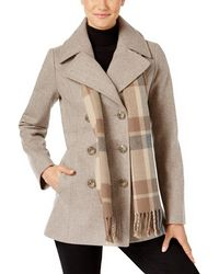 London Fog - Double Breasted Peacoat With Scarf - Lyst