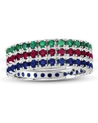 Suzy Levian - 14k White Gold Emerald Ruby Sapphire Eternity Band Ring (set Of 3) - Lyst